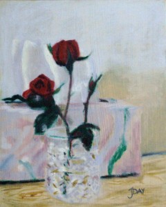 My rose in glass oil painting