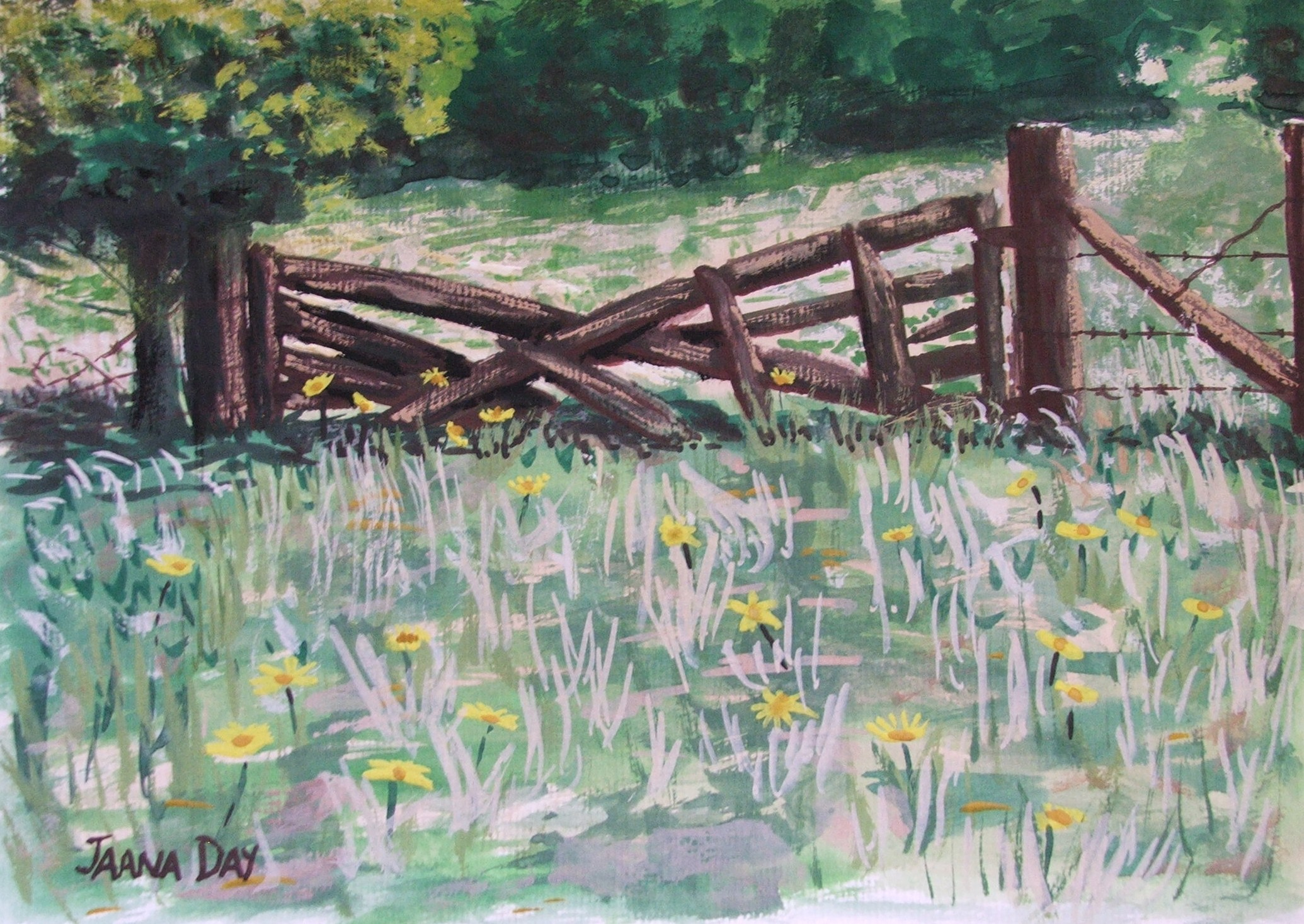 Not available-Old Gate Painted in Watercolours