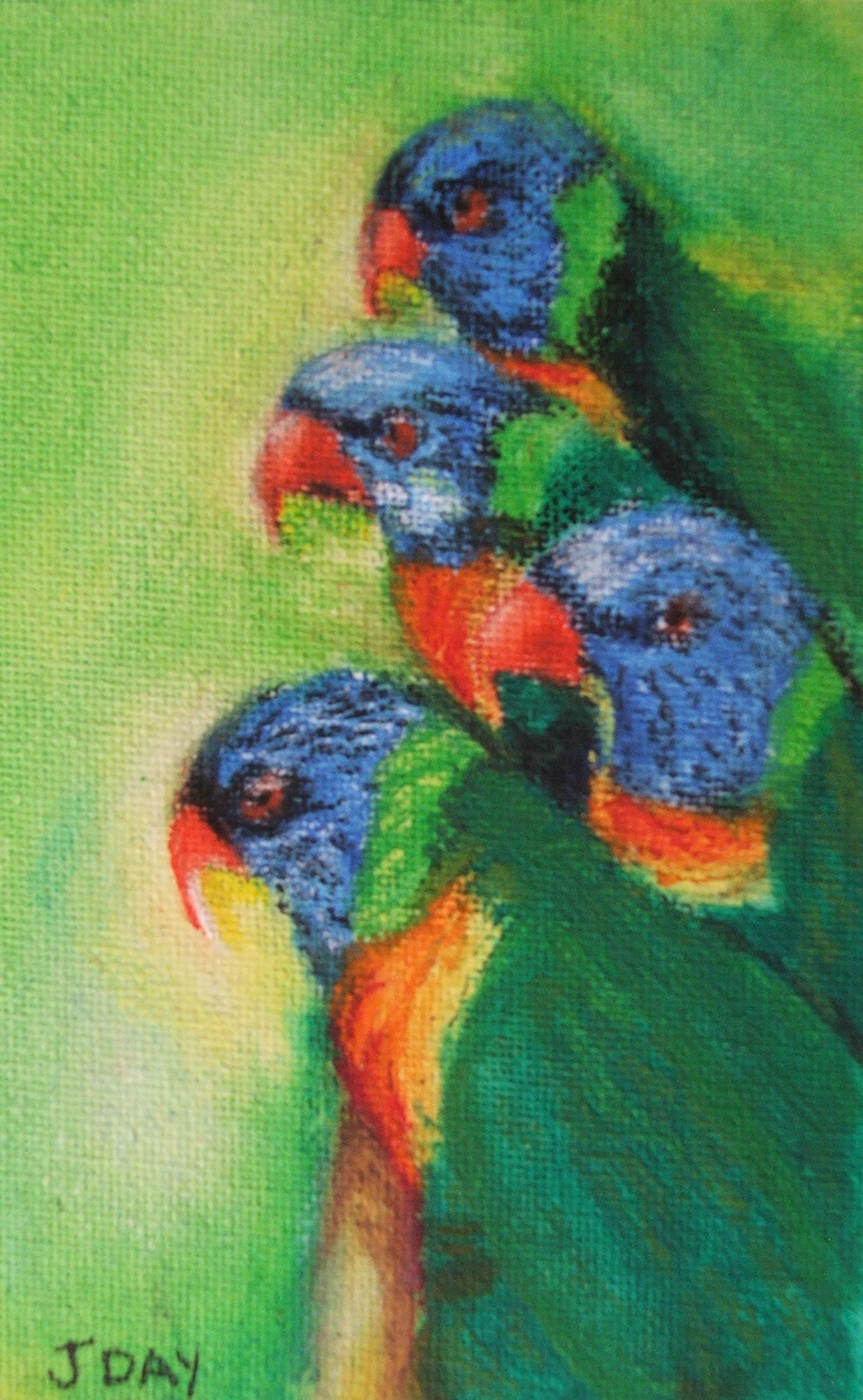 Rainbow Lorikeets Painted in Oil Pastels -SOLD