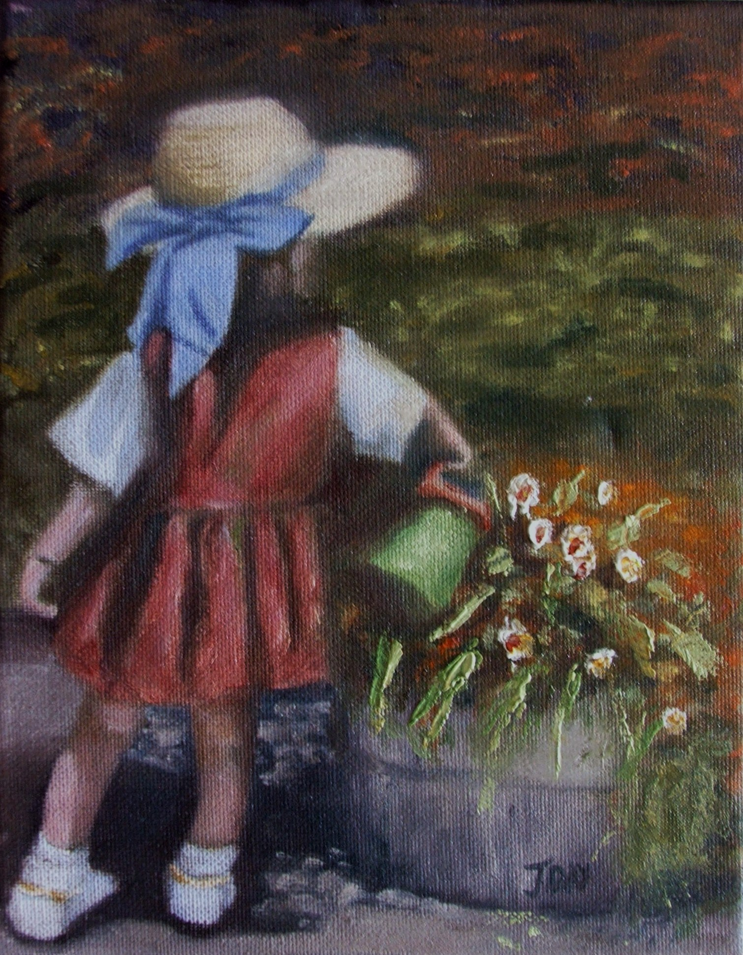 Girl with the toy watering can -SOLD