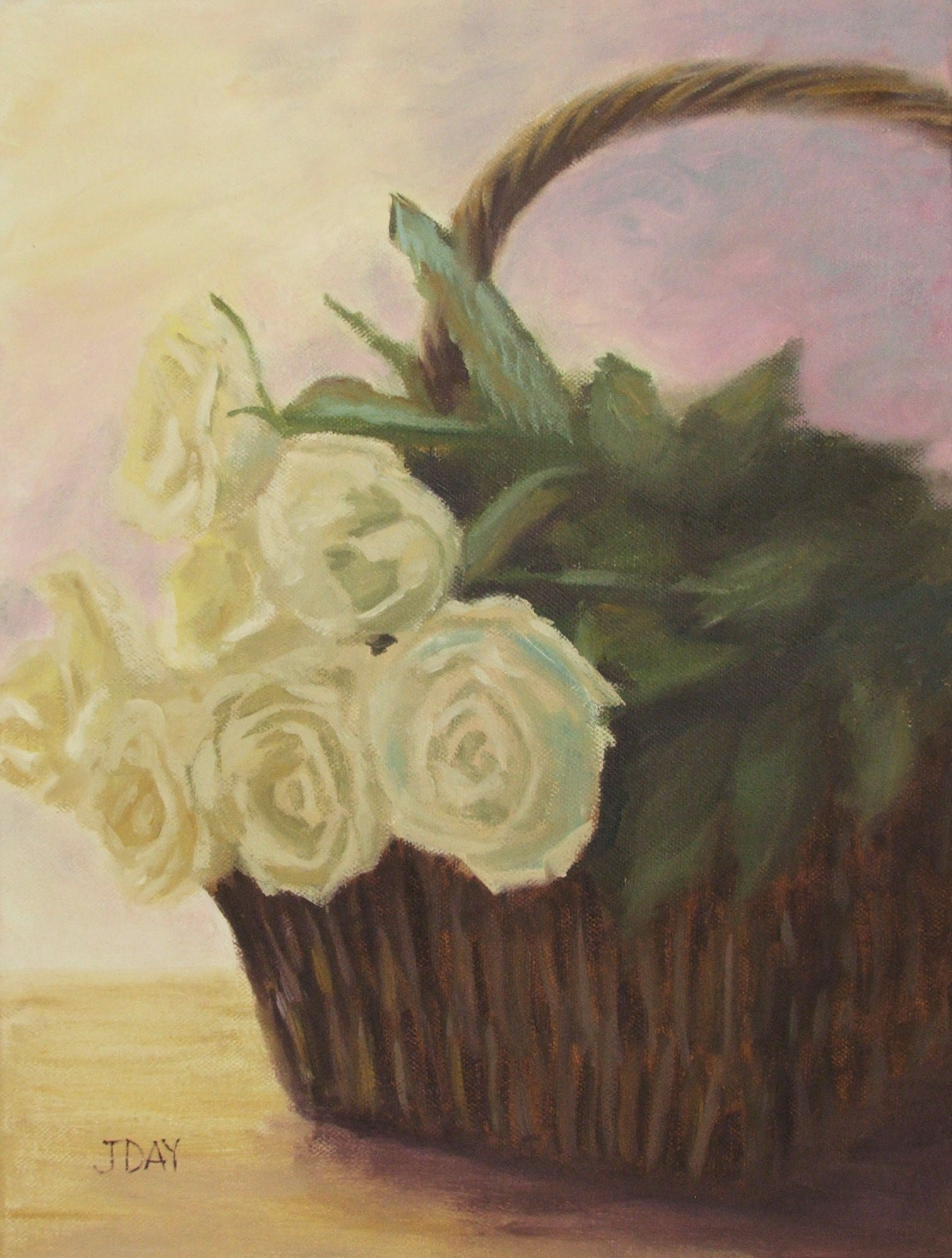 Basketful of white roses – romantic oil still life painting -SOLD