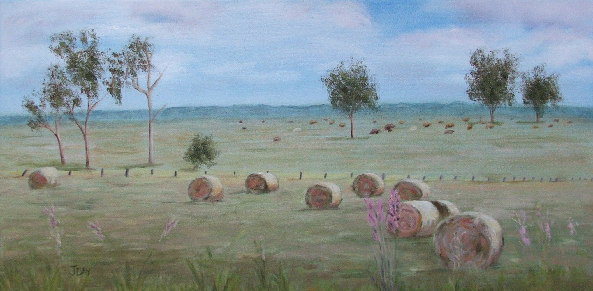 Sold-Haybale Paddock Landscape Painted with Genesis Artist heat-set Oil Colours