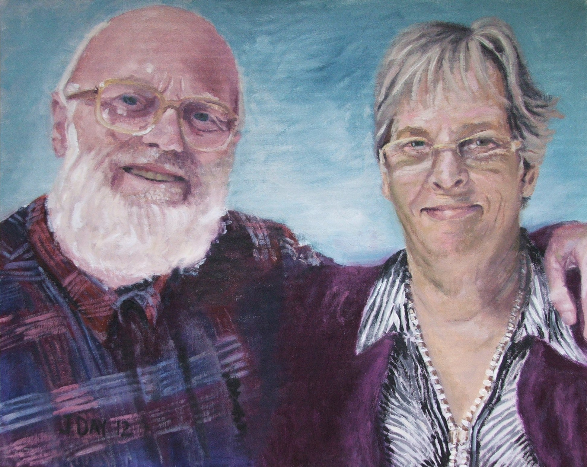 Not available-Portrait of my mum and stepdad painted with Genesis artist heat-set oil colours