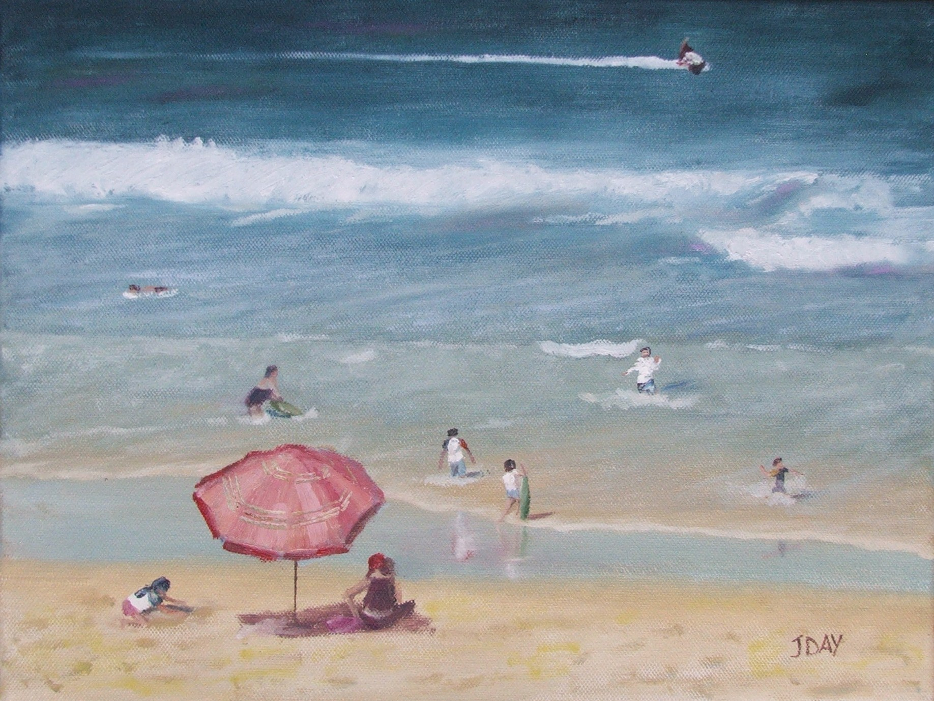 Genesis heat-set Oil painting 'Back At The Umbrella', inspired by a beach scene at the Gold Coast
