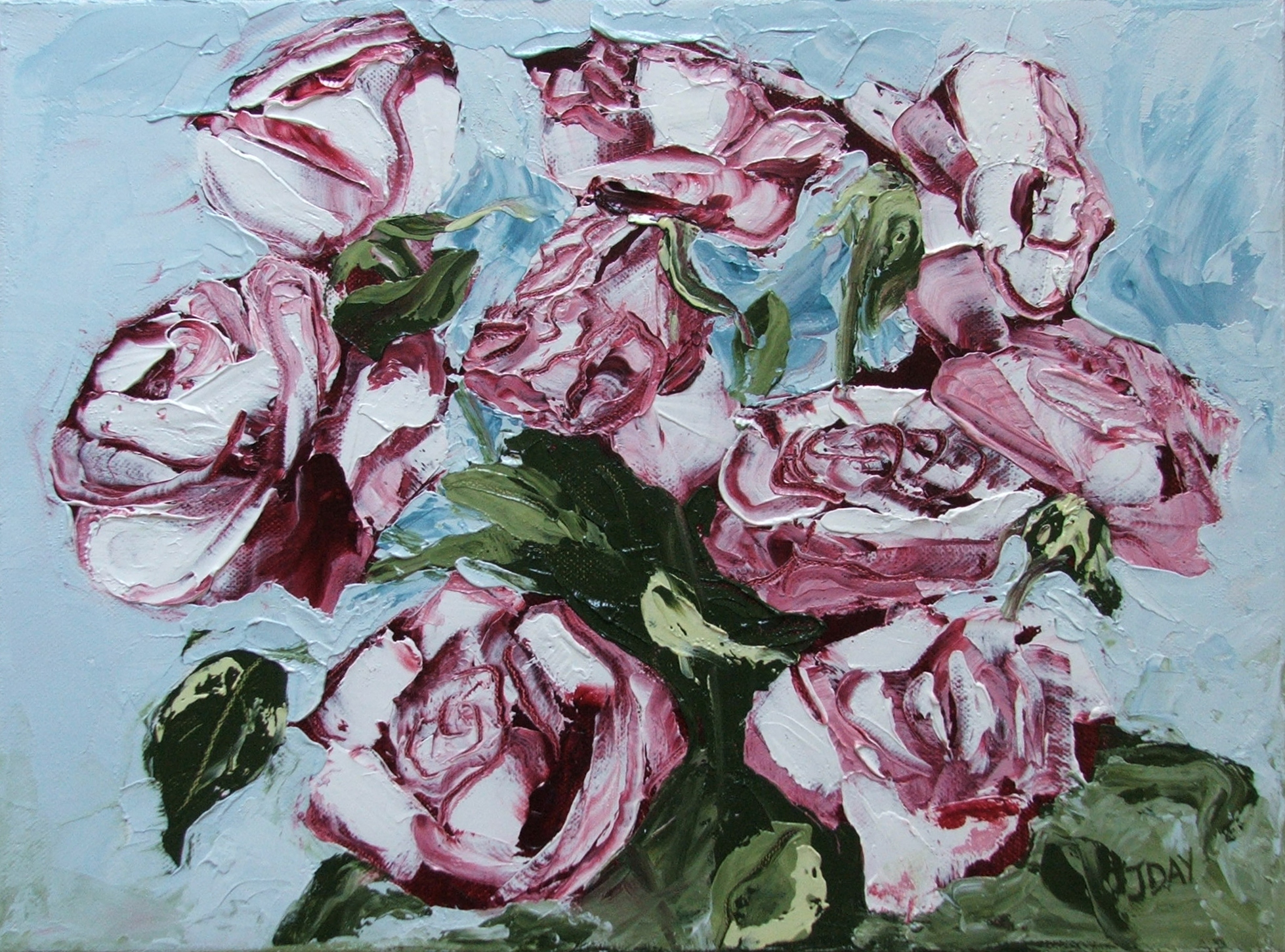 SOLD-Roses painting with a pallete knife and Genesis heat-set oils.