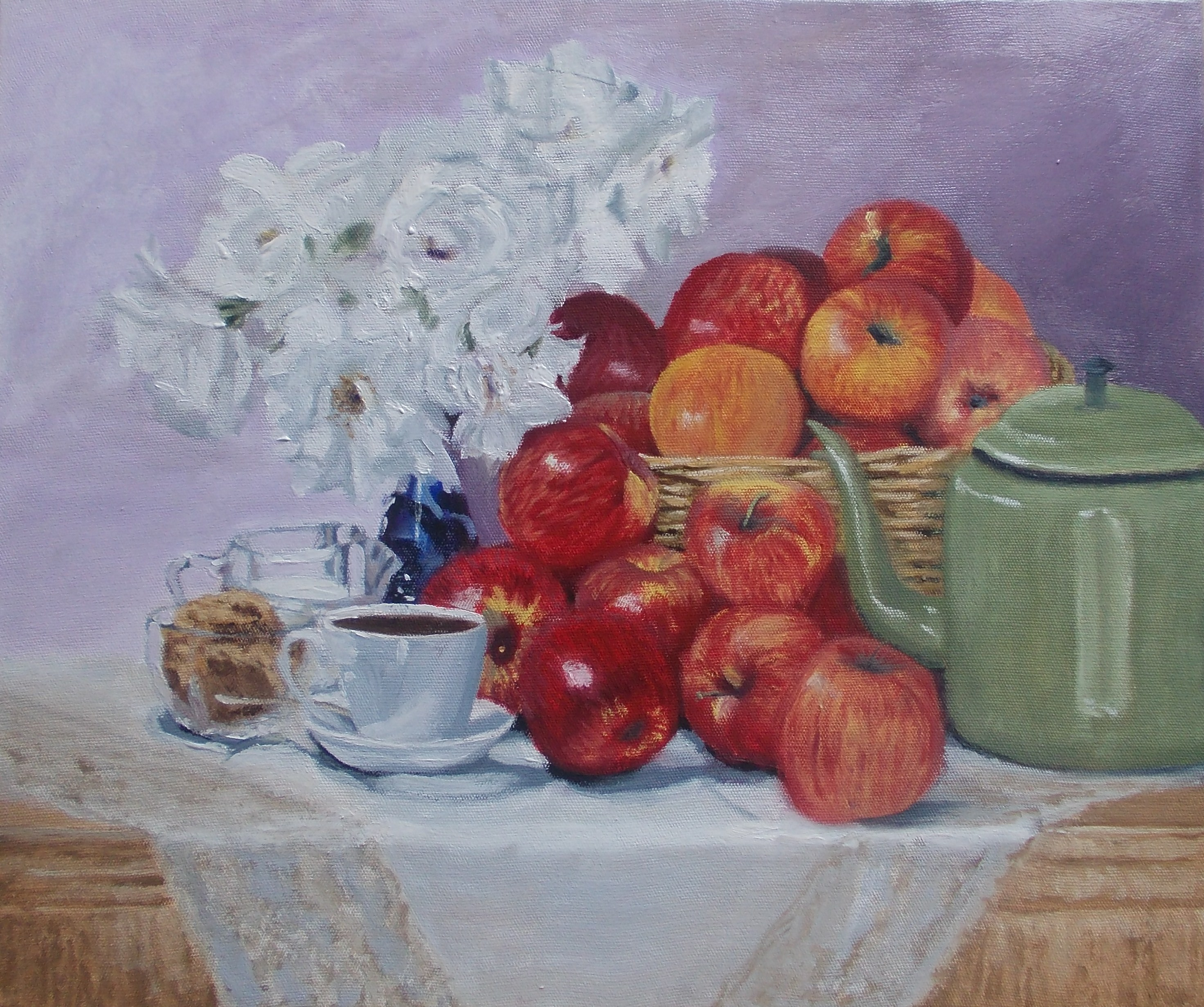 WIP – Still Life Painting. Basket of Apples, Roses and Cup of Tea.