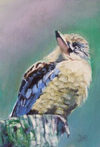 Painting of a Kookaburra up on his Perch