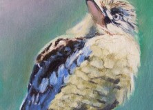 SOLD Painting of a Curious and Cute Kookaburra on his Perch