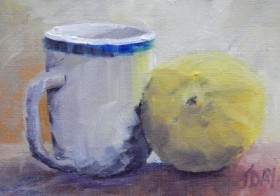 SOLD Lemon and a Mug Oil Painting