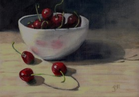 SOLD Still life with Cherries in White Bowl